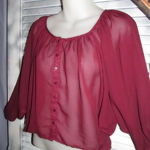 Poetry Small Sheer Wine Cropped 3/4 sleeve blouse